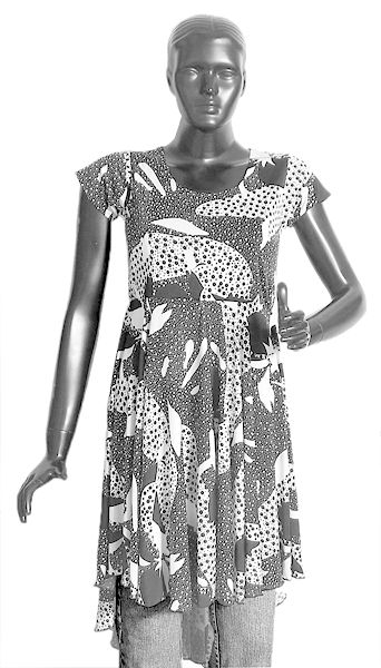 Black and White Print on Synthetic Top