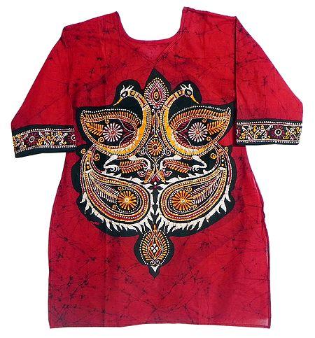 Batik Painted Two Peacocks on Red Kurta with Three Quarter Sleeves