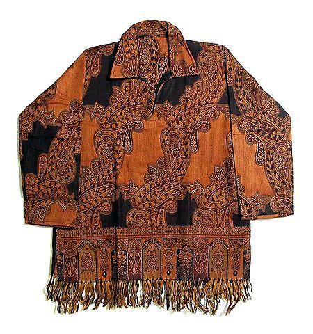 Paisley Design Full Sleeve Short Kurta with Fringe
