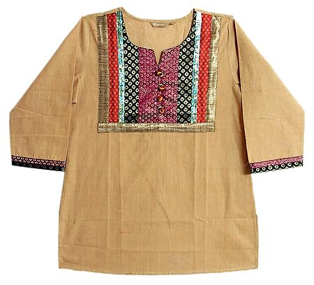 Beige Short Kurta with Multicolor Design