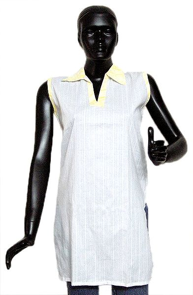 Striped White Short Kurta with Yellow Collar