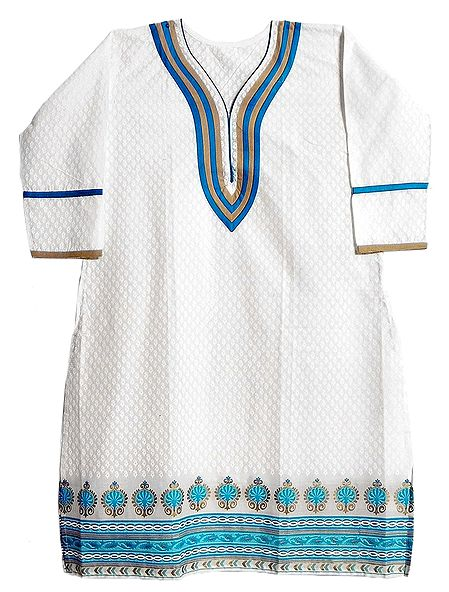 White Self Printed Kurta with Three Quarter Sleeves