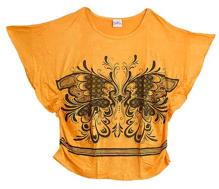 Black Butterfly Print on Yellow Designer Top