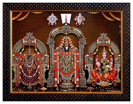 Balaji with Mahalakshmi and Dhanalakshmi on Laminated Board - Wall Hanging