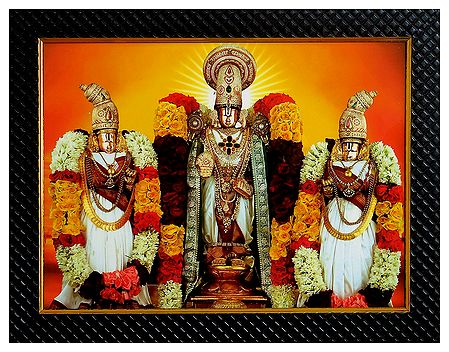 Balaji with Rukmini and Satyabhama on Laminated Board - Wall Hanging