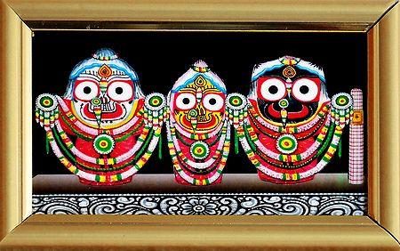 Jagannath, Balaram, Subhadra - Print on Laminated Board - Framed Table Top