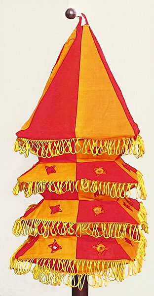 Appliqued and Mirrorwork Foldable Hanging Square Lamp Shade