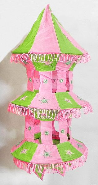 Pink with Light Green Appliqued and Mirrorwork Foldable Hanging Cloth Lamp Shade