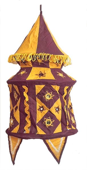 Maroon with Yellow Appliqued and Mirrorwork Foldable Hanging Cloth Lamp Shade