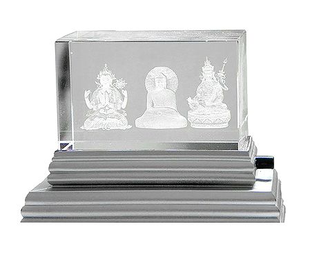 3-D Etched Glass Buddhist Deities with Changing Colors