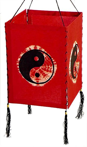 Hanging Tie and Dye Foldable Red Lamp Shade with Hand Painted Yin-Yang