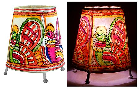 Leather Perforated Stand Lamp Shade with Colorful Hand Painted Peacock Design
