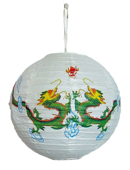 Foldable Hanging White Paper Lamp Shade with Dragon Print