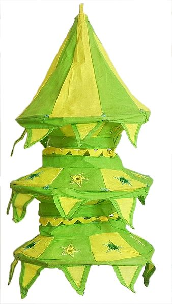 Light Green with Yellow Appliqued and Mirrorwork Foldable Hanging Cloth Lamp Shade