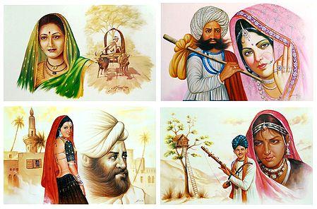 Rajasthani and Maharashtrian People - Set of 4 Unframed Posters