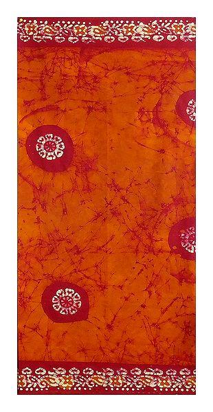 Dark Saffron Batik Cotton Lungi