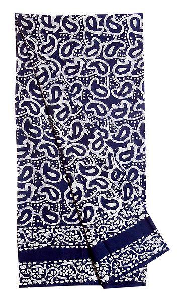 White Batik Print on Blue Cotton Lungi