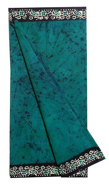 Batik Print on Cyan Blue Cotton Lungi