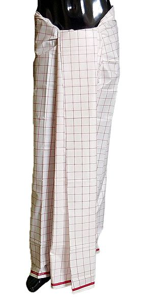 Red Check on White Cotton Lungi