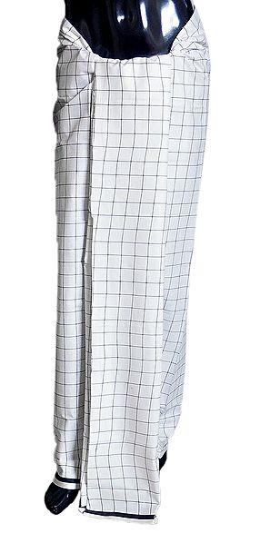 Black Check on White Cotton Lungi
