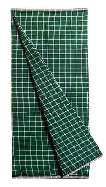 White Check on Green Cotton Lungi