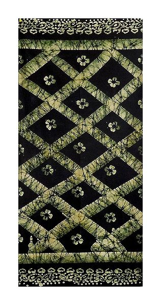 Black with Light Green Batik Cotton Lungi