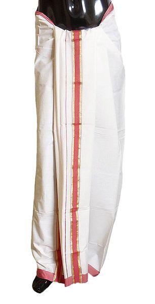 White Cotton Lungi with Dark Pink Border