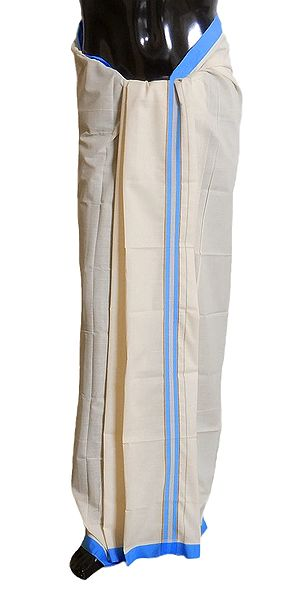 White Cotton Lungi with Cyan Blue Border