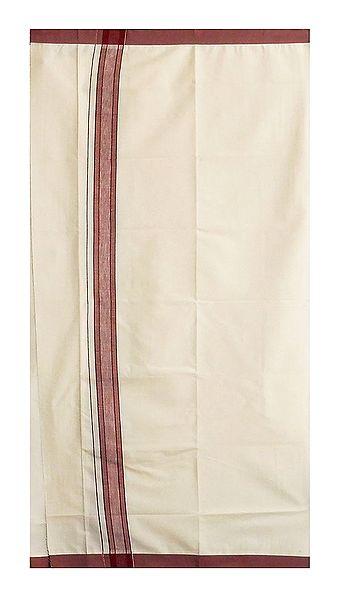 Off-White Cotton Lungi with Maroon Border