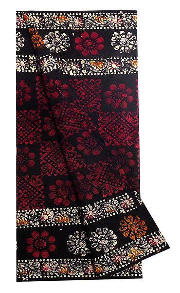 Black with Red Batik Cotton Lungi