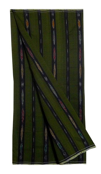Moss Green Ikkat Cotton Lungi