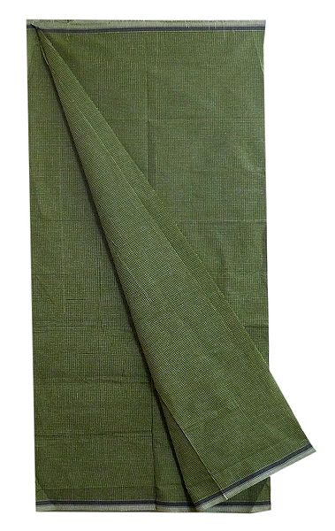 White Small Check on Green Cotton Lungi
