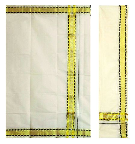 Off-White Kerala Lungi and Chadar with Zari Border
