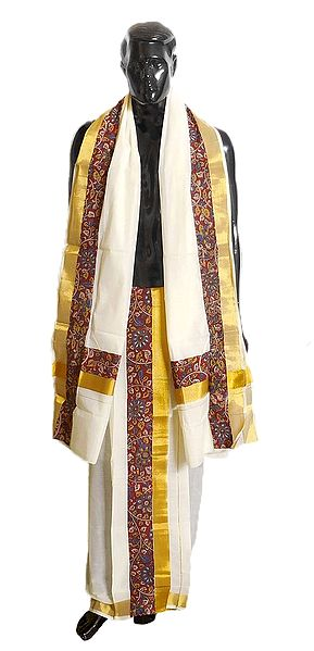 Off-White Cotton Kerala Lungi and Chadar with Kalamkari Border