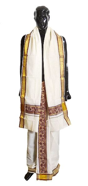 Off-White Cotton Kerala Lungi and Chadar with Floral Border