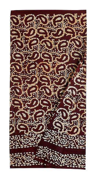 Batik Print on Maroon Cotton Lungi for Men