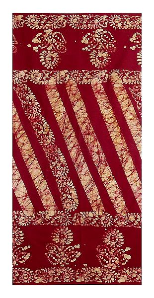 Dark Red Batik Cotton Lungi