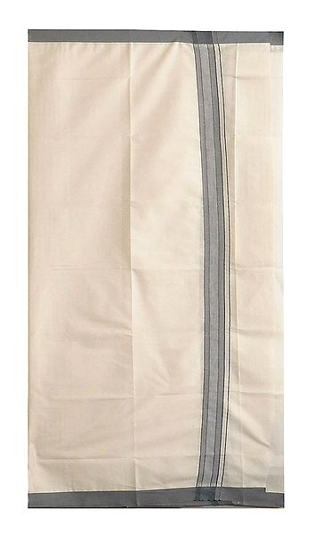 Off-White Cotton Lungi with Grey Border