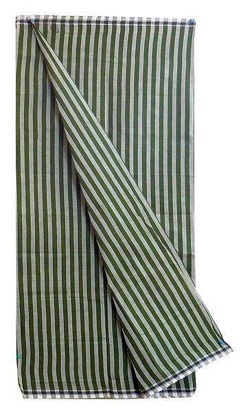 Dark Green with Light Green Stripe Cotton Lungi