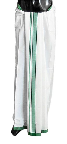White Plain Cotton Lungi with Cyan Green Border
