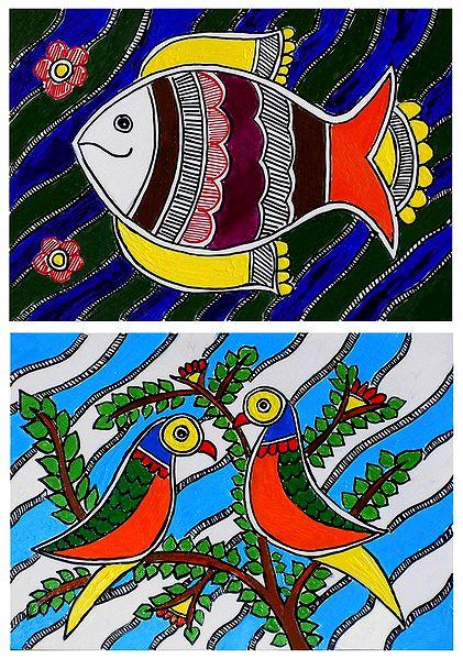 Fish and Birds - Set of 2 Madhubani Paintings on Unframed Photographic Paper