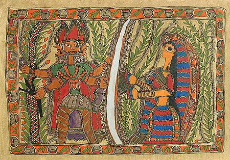 Ravana Abducting Sita as she Crosses the Lakshman Rekha