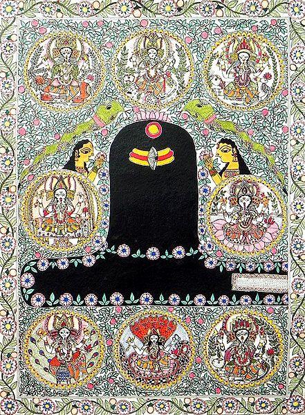 Shivalinga with Ashta Vinayaka