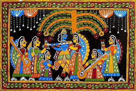 Radha Krishna Under Kadamba Tree with Other Gopinis - Wall Hanging