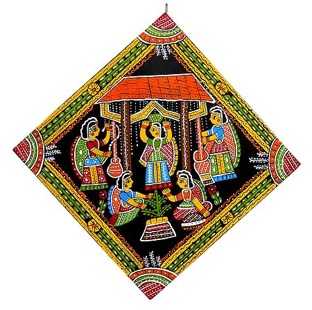 Ladies Offering Prayers to the Sacred Tulsi Plant - Wall Hanging