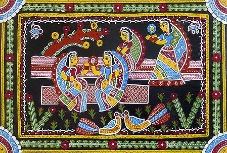 Girls Playing in the Garden - Wall Hanging