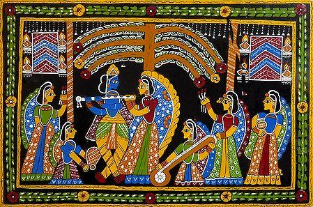 Radha Krishna with Gopinis - Wall Hanging