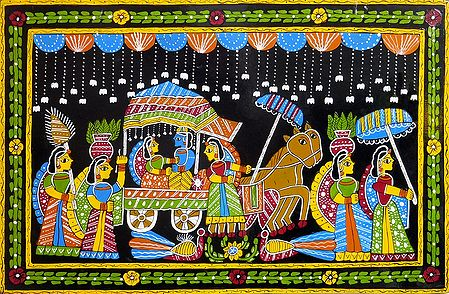 Radha Krishna on a Chariot - Wall Hanging