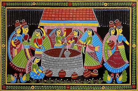 Women Near a Village Well - Wall Hanging