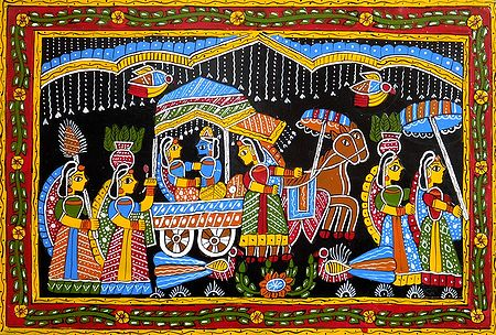 Radha Krishna on a Horse Cart - Wall Hanging